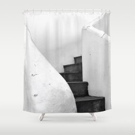 Black and White Stairs Shower Curtain