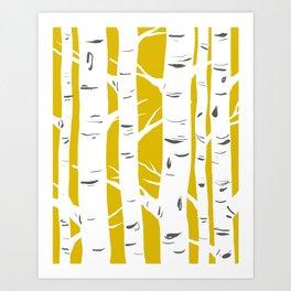 Mustard Birches Art Print