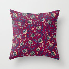 Watercolor Peonies - Ruby Red Throw Pillow