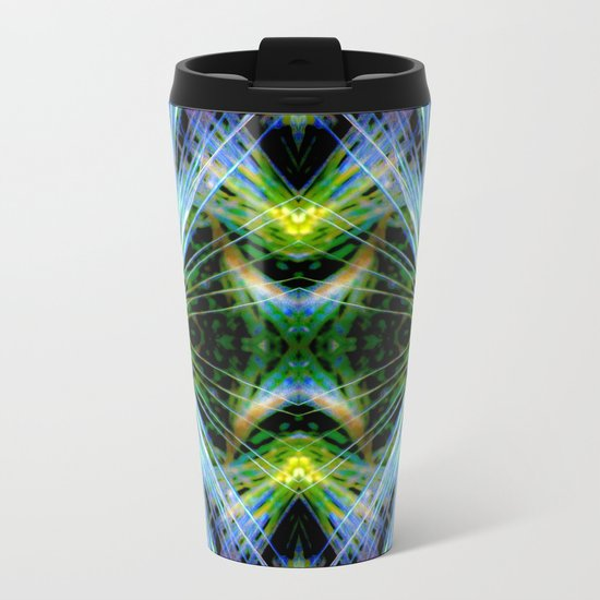 Blue Green Bright Rays,Fractal Art Metal Travel Mug