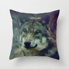 WOLF II colored Throw Pillow