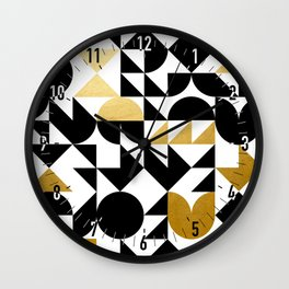 geometric black & gold Wall Clock