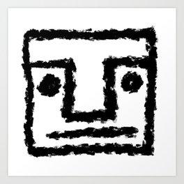 Minimalist Brush Stroke Face 001 Art Print