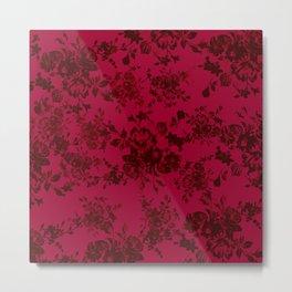 Vintage black gray red bohemian floral pattern Metal Print