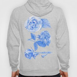 Blue Roses Watercolor Hoody