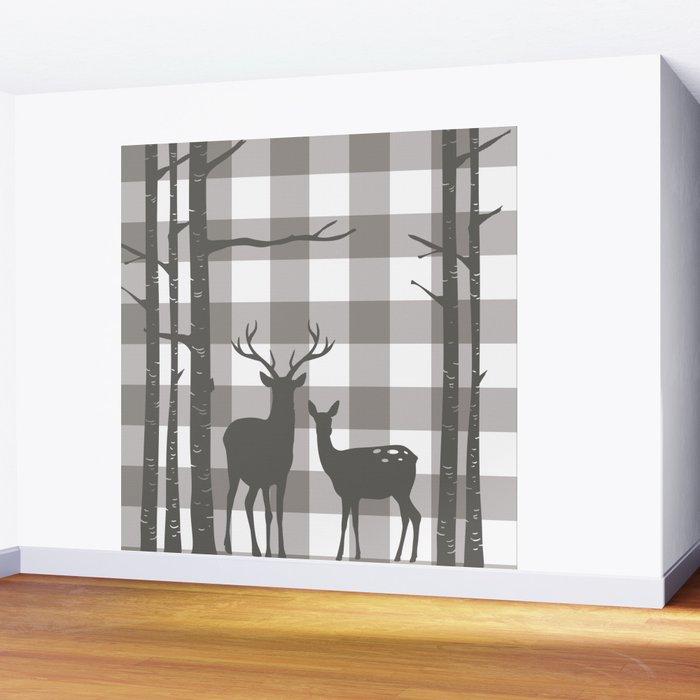 Deer & Birch Grey Plaid Wall Mural