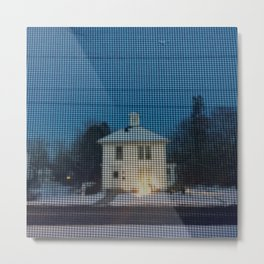 White house w/first snow & creche Metal Print