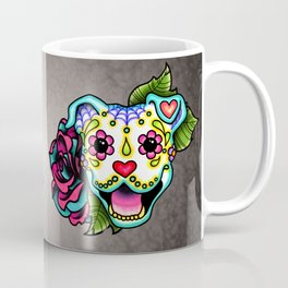 Smiling Pit Bull in White - Day of the Dead Pitbull Sugar Skull Coffee Mug