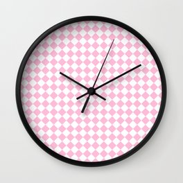 Small Diamonds - White and Cotton Candy Pink Wall Clock