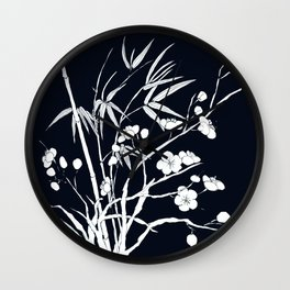 bamboo and plum flower white on black Wall Clock