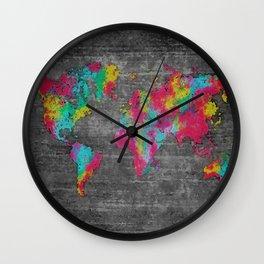 world map 81 dark color mosaic Wall Clock