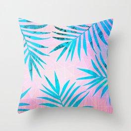 Refreshing Geometric Palm Tree Leaves Tropical Chill Design Throw Pillow