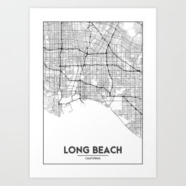 Minimal City Maps - Map Of Long Beach, California, United States Art Print