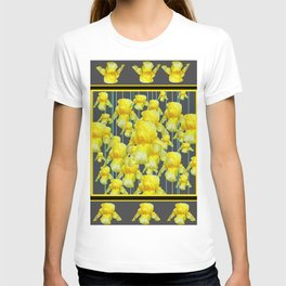 MULTITUDE OF YELLOW IRIS IN GREY PATTERN ART T-shirt