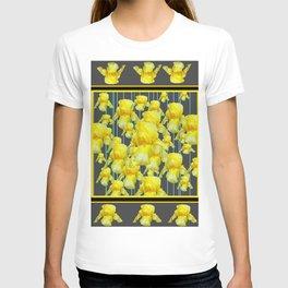 MULTITUDE OF YELLOW IRIS IN GREY PATTERN ART T-shirt