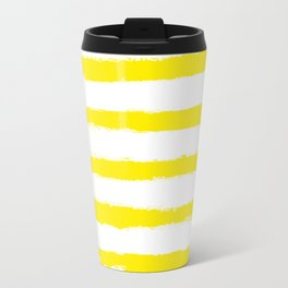 Sunny Yellow STRIPES Handpainted Brushstrokes Travel Mug