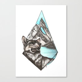 Wolf in Mountains Canvas Print