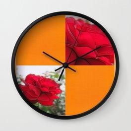 Red Rose Edges Blank Q8F0 Wall Clock