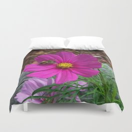 Coreopsis Flower with Bee Duvet Cover