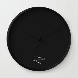 A Mess Of Gorgeous Chaos Embossed Labels Black Wall Clock