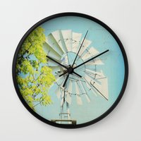 american beauty Wall Clocks featuring American Beauty Vol 20 by Farmhouse Chic
