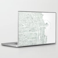 chicago map Laptop & iPad Skins featuring Map Chicago city watercolor map by Anne E. McGraw