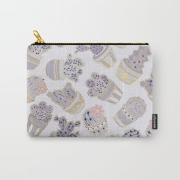 Elegant modern faux gold lavender pink cactus floral Carry-All Pouch
