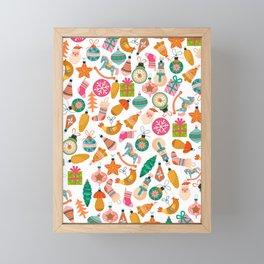 zipped merry christmas pattern Framed Mini Art Print