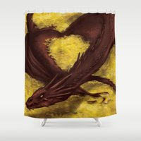 smaug Shower Curtains featuring Smaug by toibi