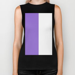 White and Dark Pastel Purple Vertical Halves Biker Tank
