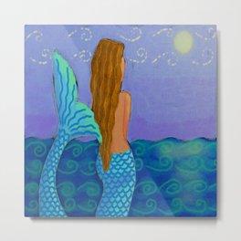 Mermaid Watching The Sun Abstract Digital Painting Metal Print