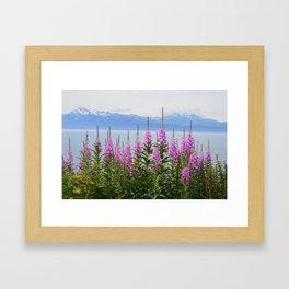 mountain on fire Framed Art Print