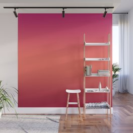 Living Coral Pink Peacock Jester Red Gradient Ombre Pattern Wall Mural