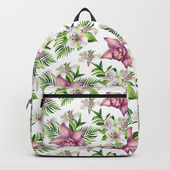 Orchids. White pattern Backpack