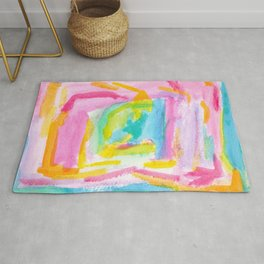 Dream on no.0 Colorful Abstract Painting Pink Modern Art Colorful Brush Art Rug