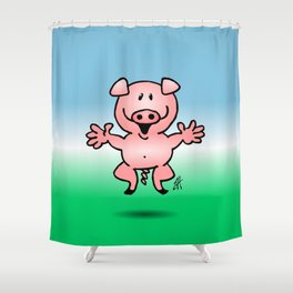 Cheerful little pig Shower Curtain