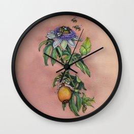 "Passiflora Caerulea ""Blue Passion Flower"" by Betsy VanDeusen Wall Clock"