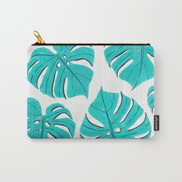 Monstera leaf pattern in turquoise blue Carry-All Pouch