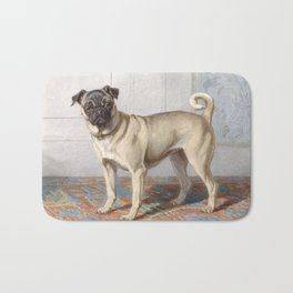Vintage Pug Painting Bath Mat