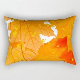 Fall Orange Maple Leaves On A White Background #decor #buyart #society6 Rectangular Pillow