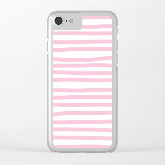 Pink Stripes Horizontal Clear iPhone Case