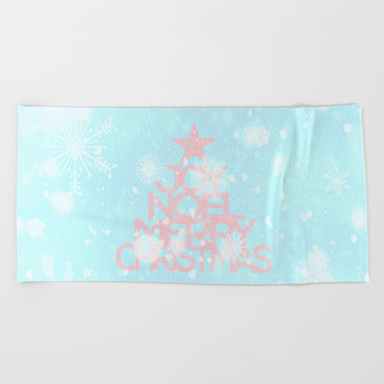 Joy,Noel,Merry Christmas and Star pattern - pink on aqua Beach Towel