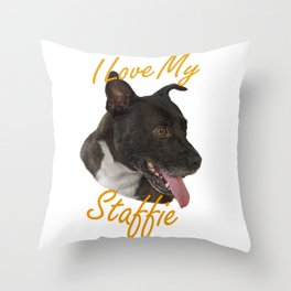 I Love My Staffie Throw Pillow