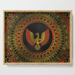 Gold and red Decorated Phoenix bird symbol Serving Tray