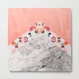 MIX IT BABY - CORAL MARBLE Metal Print