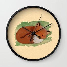 Sleepy Watercolor Fox Wall Clock