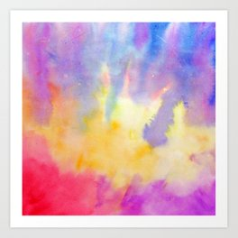 Watercolor Abstract Landscape Yellow Red and Blue Art Print