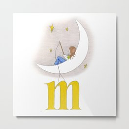 m is for moon Metal Print