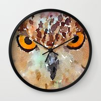 owl Wall Clocks featuring Owl by contemporary
