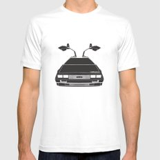 Delorean DMC 12 / Time machine / 1985 MEDIUM White Mens Fitted Tee